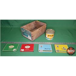 Wood Box Lot - Black Cat Collector Combo: 4 Cigarette Tins & 1 Tobacco Tin