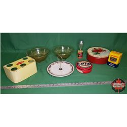 Tray Lot - Yellow/Red Theme: Robinson Cone Holder, Mixing Bowls, Bay Leaves Box, Rose Tin, Eclipse Y