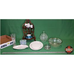 Tray Lot: Small Wood Corner Curio Shelf, China & Glassware Variety