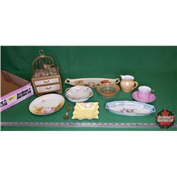 Tray Lot: Musical Bird Cage Trinket/Jewell Chest & Variety of Lovely Chinaware (Noritake, RC, James