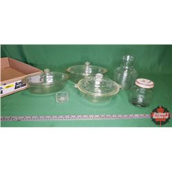 Tray Lot - Clear Glass: 2 Roasters & 1 Casserole & Juice Canister, Jar, etc