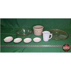 Gold Rim Snack Service, Gold Rim Bowl, Open Crock, Milk Glass Pitcher, Snack Dishes