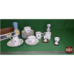 """Tray Lot: Chinaware """"Victoria Czecho-Slovakia"""" Variety Pcs & Hand Décor Daffodil Pitcher/Vase, Plate"""