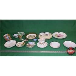 Tray Lot: Large Variety Chinaware (Plates, Cups, Pitcher, etc)
