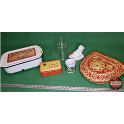 Enamel Refrigerator Pan w/Lid (Contents: Tin, Jar, Cozy, Ornament, Cup)