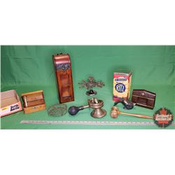 Tray Lot: Vintage Car/Bicycle Horn, Gavel, Desk Stamp Holder, Wood Trinket Box, Wood Bottle Case, Na