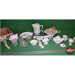 Tray Lot: China/Glassware Variety (Pink/White/Green)