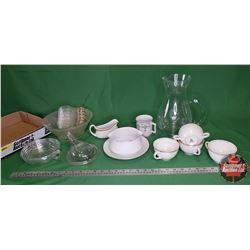 Tray Lot: China/Glassware Variety (Clear/White/Gold) & Perfection Feeder Bottle