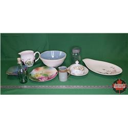 Tray Lot: James Duncan Sterling Embossed Blob Top Bottle, Crockery Mixing Bowl, Jar, Chinaware, Pitc