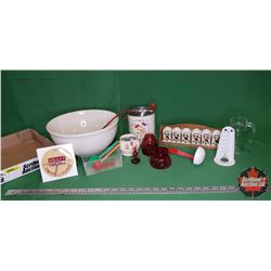 Tray Lot: Mixing Bowl, Swans Down Thermometer, Kraft Swiss Counter Clock, Margene Lid, Sifter, Red/W