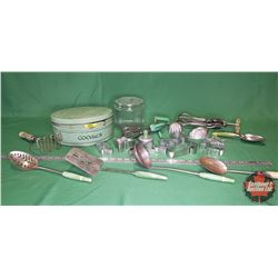 Green Cookie Tin w/Large Variety of Vintage Green Handle Kitchen Tools & Utensils!