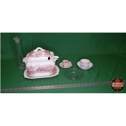Tray Lot: Red/White Soup Tureen on Tray, Cups/Saucers, Clear Glass Plate & Vase