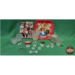Tray Lot: Clear Glassware / Crystal & Monarchy Tray & Book