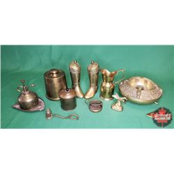Tray Lot: Large Variety of Brass Items (Boots, Candle Snuffer, Paper Weight, Ashtray, Oiler, Humidor