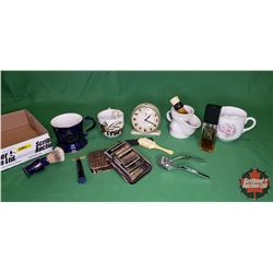 Tray Lot ~ Gentleman's Grouping: Moustache Cups, Auto Strop, Straight Razor, Alarm Clock, Clippers,