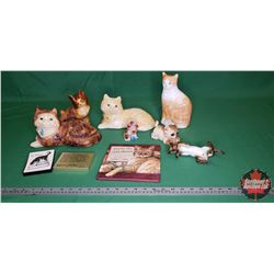 Tray Lot - Cat Theme: Chalkware & Ceramic Ornaments & Book & Cat Bank, etc
