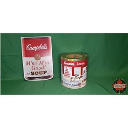 "Campbell's Soups Cardboard Ad - Double Sided (18""H x 12""W) & Gift Tin"