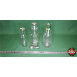 "Milk/Cream Bottles Trio & ""Cream Top"" Spoon"