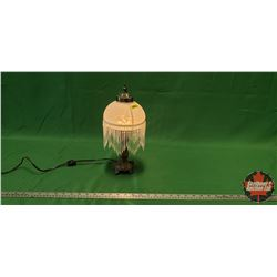 "Table Top Electric Lamp - Beads & Glass Shade (13-1/2""H)"