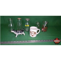 Dairy Collectibles (Cream Bottles, Cow Creamer, Spoon, Cup)