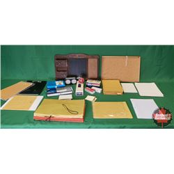 Tray Lot - Office Supplies: Small Bulletin Board, Small Wall Mount Chalkboard/Envelope Sorter, Envel