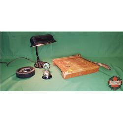 Vintage Office Collectors Combo: Ingento Paper Cutter, Tire Ashtray, Wings Pin, Cast Desk Lamp, Coun