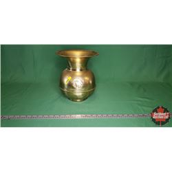 "Brass Spittoon ""Red Skin Brand Chewing Tobacco Cut Plug"" (10-1/2"")"