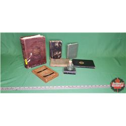 Eastman Printing Frame & Ink Jar & 6 Antique Books (The Standard Dictionary of Facts, Prayer Book, T