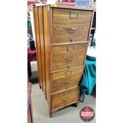 "Wood/Footed Filing Cabinet (55""H x 18""W x 28""D)"