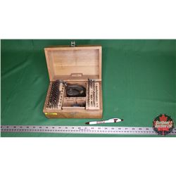 "Boley Watch Makers Staking Tool Set in Wood Case (Some pcs missing) (5""H x 9""W x 6""D)"