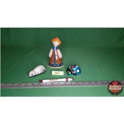Tin Wind Up Toys : Mouse (Working), Lady (Working - missing Key), Lady Bug (Just Shell)