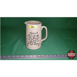"""Crock Pitcher """"Cocoa"""" Recipe on Front (7""""H) Bottom Stamp """"Pearson"""" Made in England"""