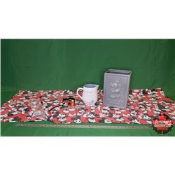 """Mickey Mouse Collectibles : Ceramic Bin (12""""H), Pitcher, Table Cloth & Camera"""