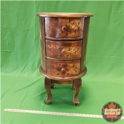 """Round Footed End Table with 3 Drawers (16""""Dia x 28""""H)"""