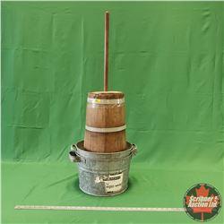 Vintage Wooden Butter Churn / Paddle (Bottom Needs Repair) & 2 Galvanized Basins