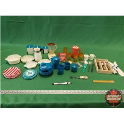 Tray Lot - Miniatures Kitchen Theme - Variety (Includes Working Toys: Mini Mixer, Blender & Popcorn