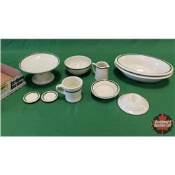 Tray Lot - Diner/Hotel Ware (Grindley England) : Pedestal, Creamer, Butter Pat Dishes, Coffee Cup, B