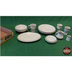 Tray Lot - Diner/Hotel Ware : Creamers, Egg Cups, Stew Bowls, Dessert Bowls, Platter (17pcs)