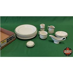 Tray Lot - Diner/Hotel Ware : Plates, Creamers, Coffee Cup, Small Gravy Boat, Butter Pat Dishes (15p