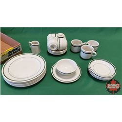 Tray Lot - Diner/Hotel Ware (Medalta Potteries) : Plates, Saucers, Cups, Creamer & Bowl (23pcs)