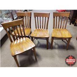 """4 Oak Chairs """"Henderson St. Lambert, Que"""""""