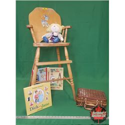 """High Chair (37""""H) & Mom of the Year Doll, Dick and Jane Story Book & Activity Book & Child's Picnic"""