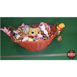 Wicker Basket Lot: Winnie the Pooh Toy Collection