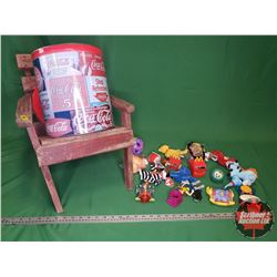 """Small Wooden Adirondack Chair (17""""H x 16""""W x 20""""D) with McDonald's Small Toy Collection (Large Varie"""