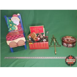 Christmas Theme Items : Child's Santa Chair, Cast Tree Stand, Plush Toy, Books, Gift Boxes, Wreath H