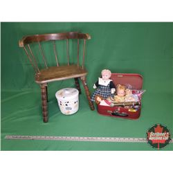 Child's Grouping: Small Chair, Small Suitcase, Animal Crackers Cookie Jar > Nesting Cocktail Cracker