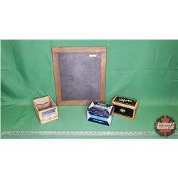 """Chalkboard Tablet (14"""" x 16"""") & 2 Chalk Tins & Chalk Box"""
