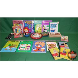 Tray Lot - Small Children's Vintage Grouping : Music Box Teaching Clock, Letter Blocks, Books, etc !