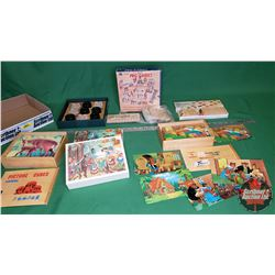 Tray Lot: Wooden Games & Peg Games