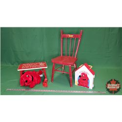 Clifford the Big Red Dog Toys (3) & Small Red Children's Chair & a Child's Stool with Limerick on it